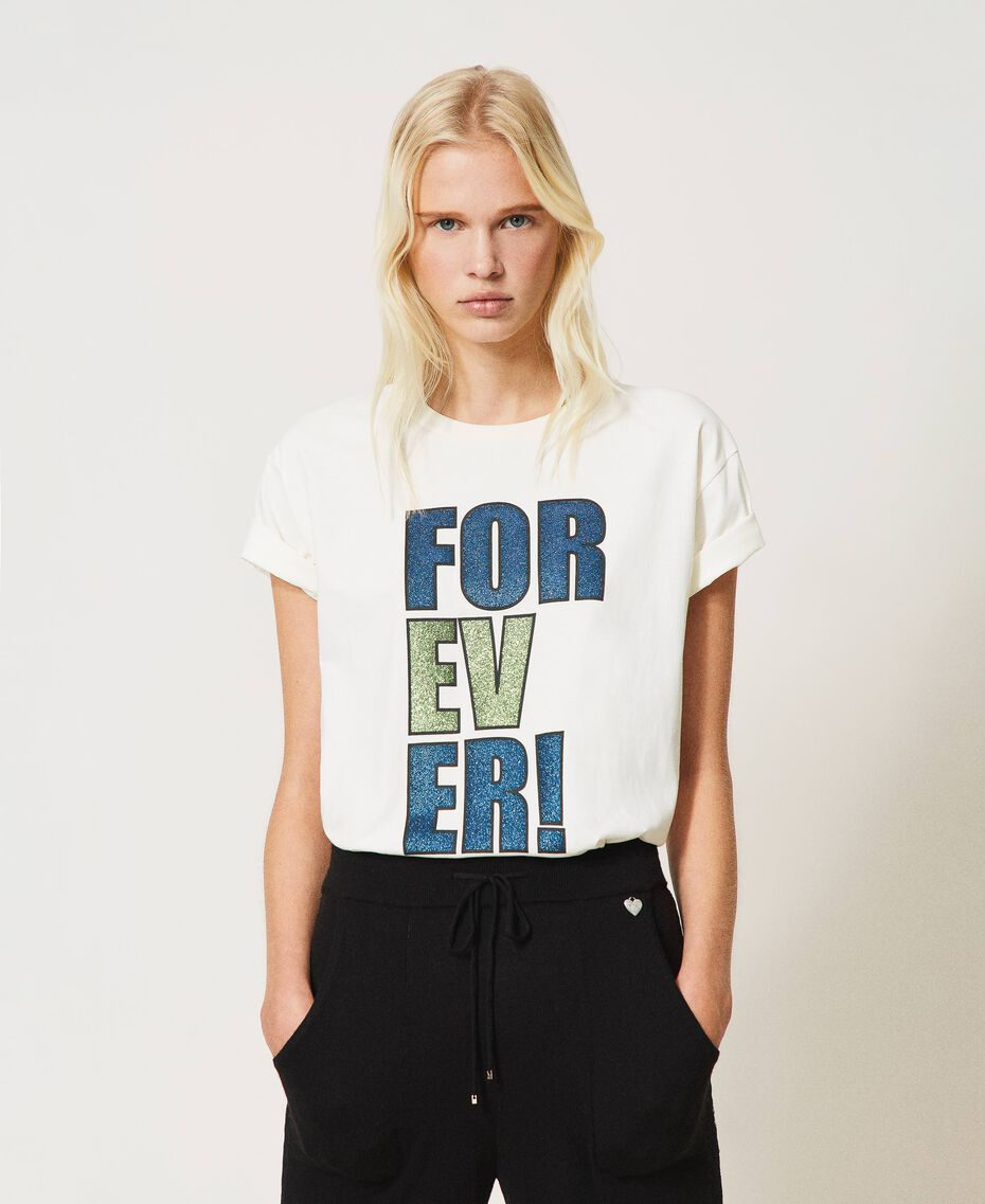 """T-shirt with glitter print """"Forever Mid Blue"""" / """"Off White"""" Floral Print Woman 202MP241B-01"""