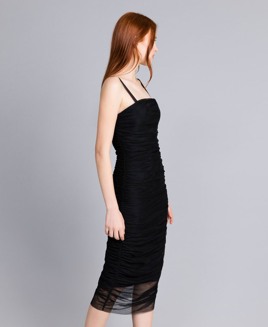 Robe fourreau en tulle Noir Femme QA8TH1-02