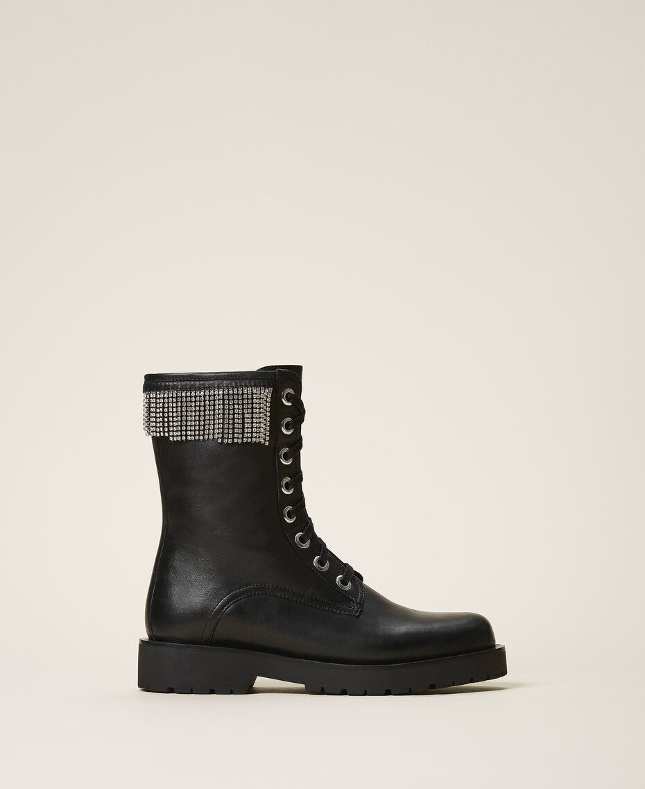 Leather combat boots with fringes Black Woman 202TCT100-01