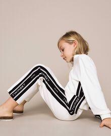 Plush jumpsuit with jacquard logo Bicolour Off White / Black Child 201GJ237B-01