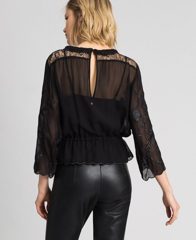 Blusa in georgette con ricami Nero Donna 192TP2341-03