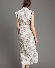 Robe chemise imprimée en lin Imprimé Toile De Jouy Noir Femme 191TT2460-03