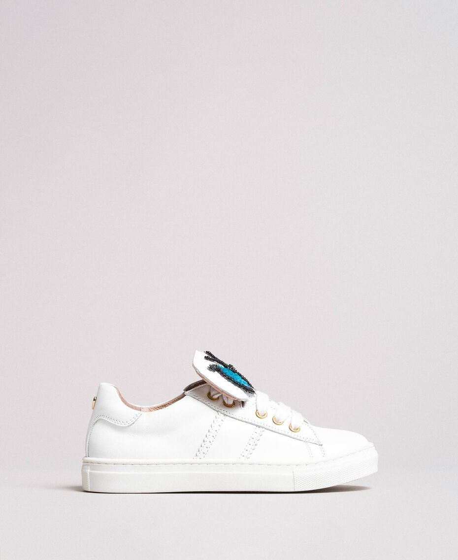 Leather sneakers with butterfly patch Pale Cream Child 191GCJ140-02