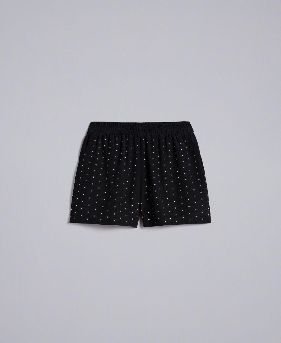 Shorts aus Seide mit Nieten Schwarz Frau PA82EW-0S