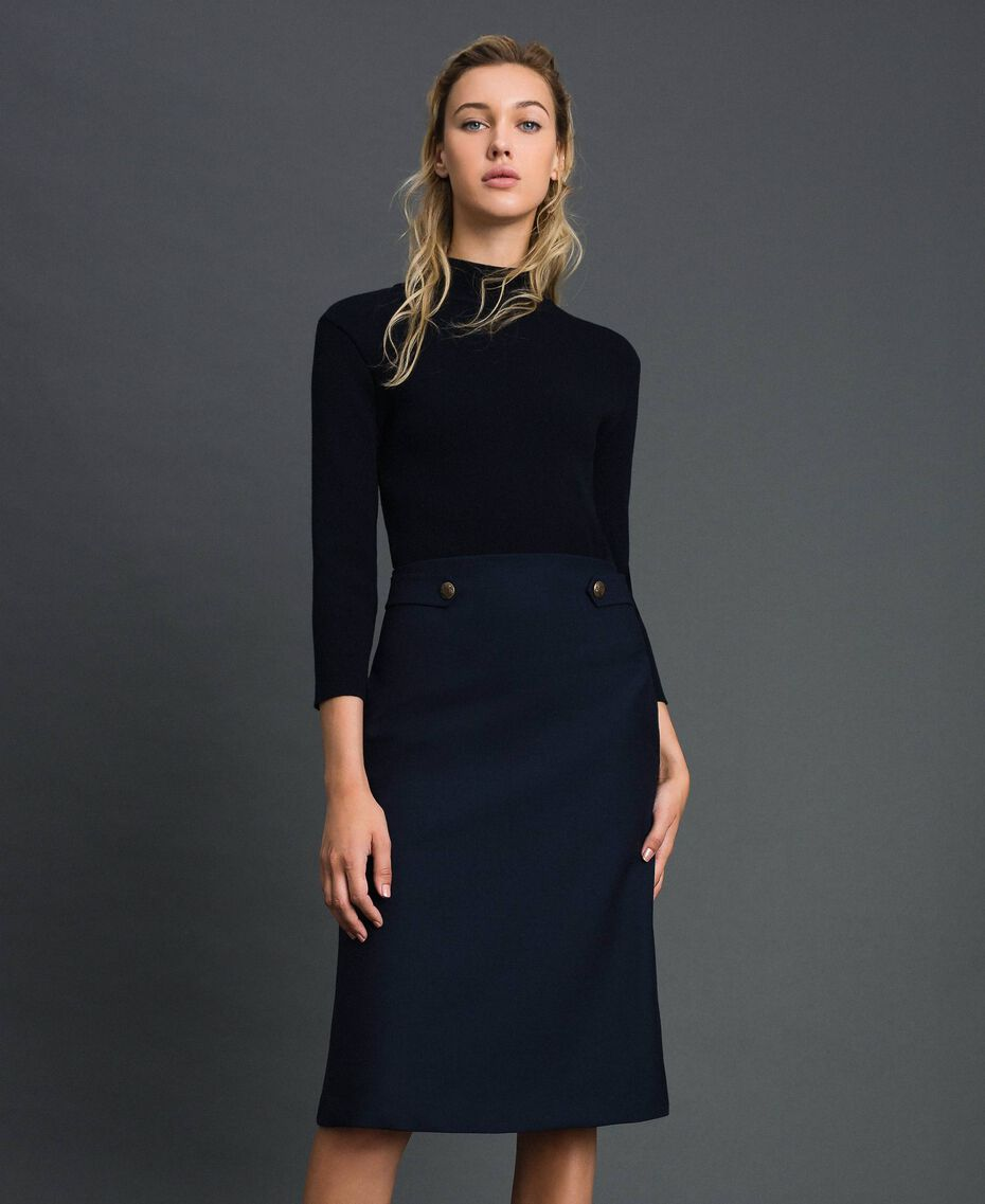 Ribbed knit and technical wool knit dress Midnight Blue Woman 192TT3282-01