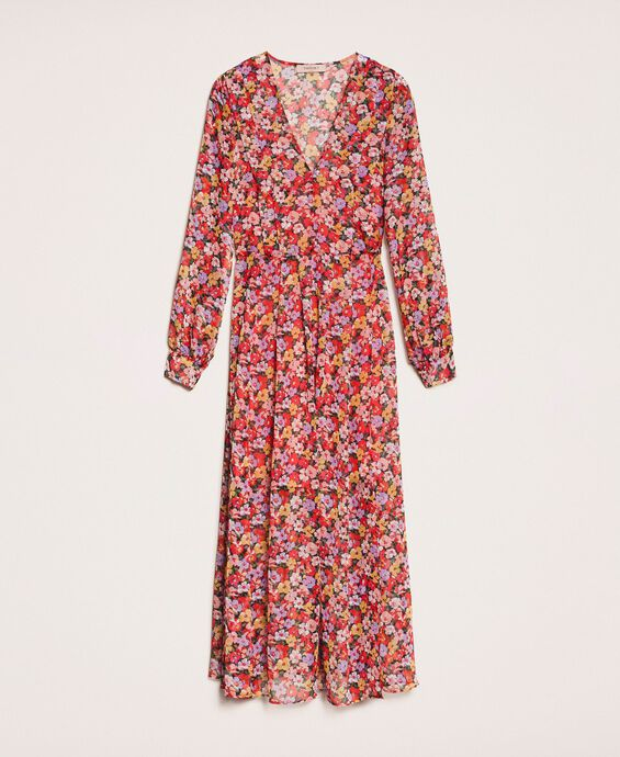 Floral chiffon full-length gown