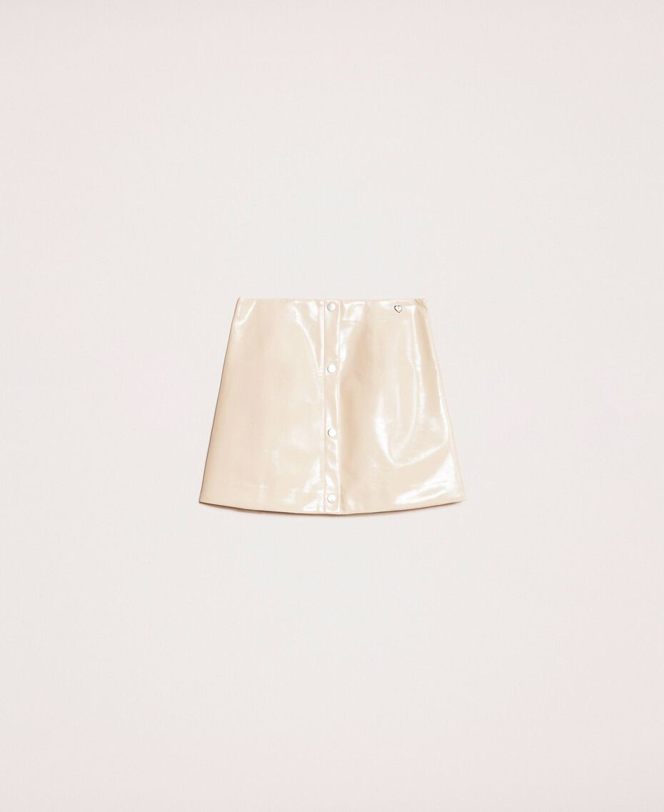 Glossy faux leather mini skirt Vanilla White Woman 201MP2240-0S