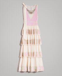 Robe longue en georgette ornée de sequins Rose Bouton Femme 191TP2580-0S