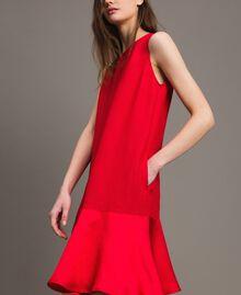 """Leinen-Kleid aus Enver-Satin mit Volant """"Lipstick Red"""" Rot Frau 191TT2304-04"""