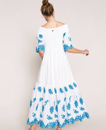 """Long scalloped dress with embroideries Two-tone """"Bay"""" Blue / Optical White Woman 201LM2NDD-03"""