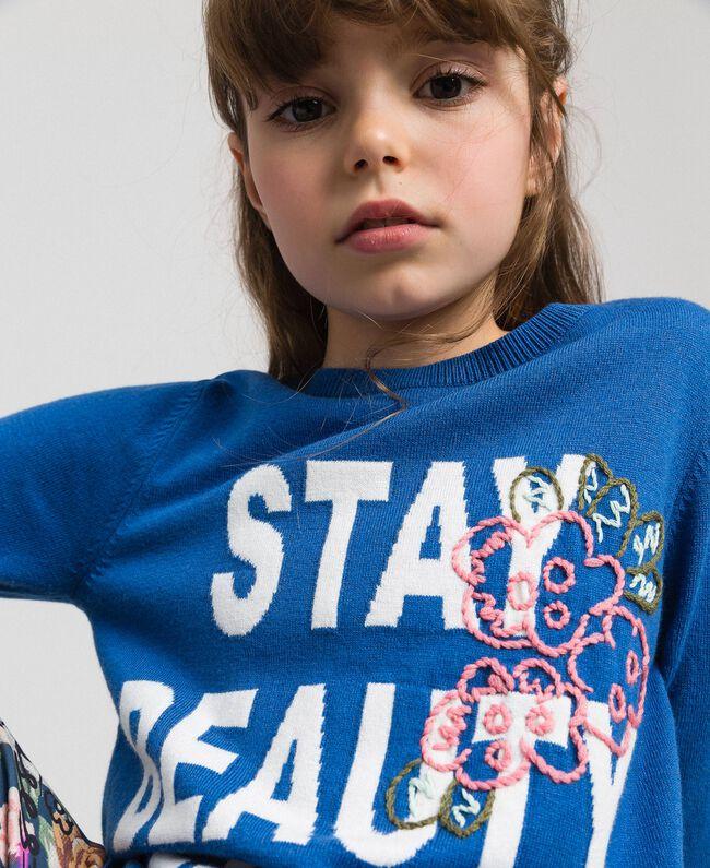 """Robe en maille avec inscription incrustée et broderie Bleu """"Méditerranée"""" Enfant 192GJ3050-04"""