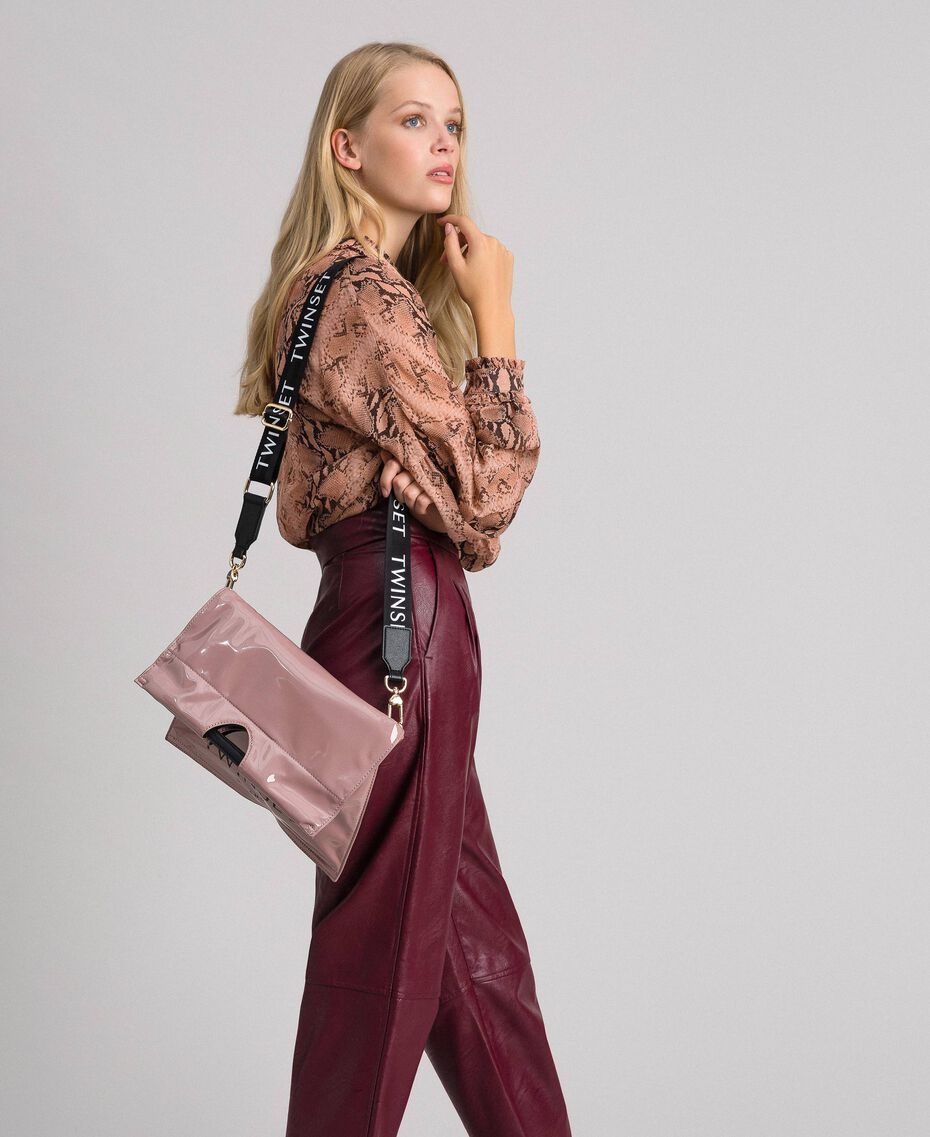Petit sac cabas repliable en similicuir Rose Poudre Femme 192TA7174-0T