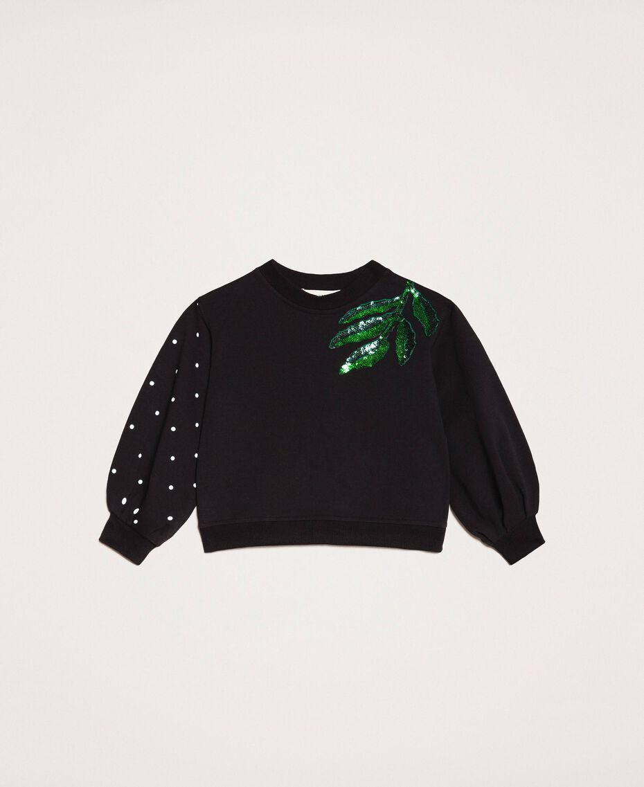Sweatshirt with polka dots and sequin patch Two-tone Black / Polka Dot Print Child 201GB2320-01