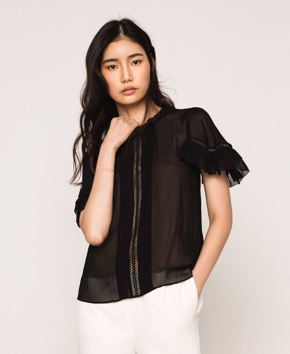 Georgette blouse with hemstitch embroidery