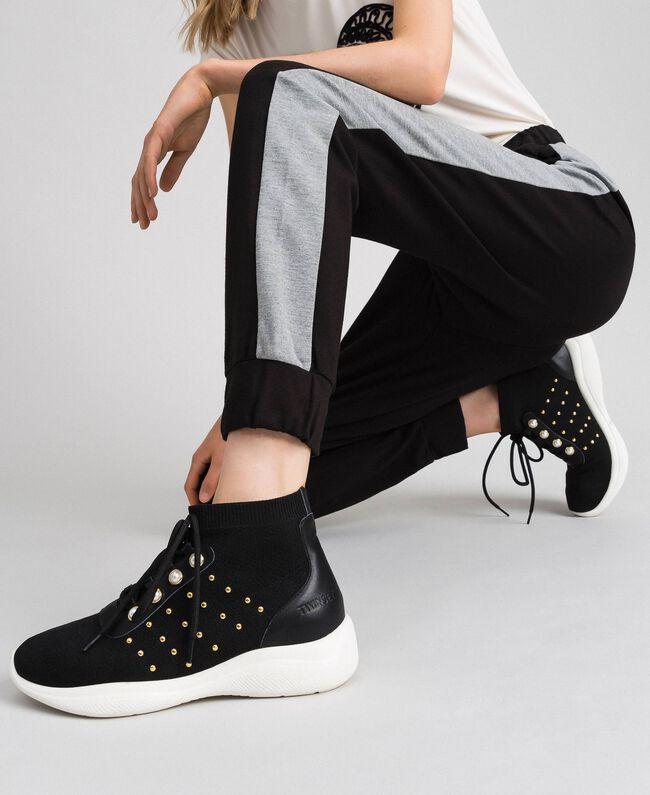 Pantalon de jogging avec bandes contrastées Noir / Gris Chiné Femme 192LI2HDD-01