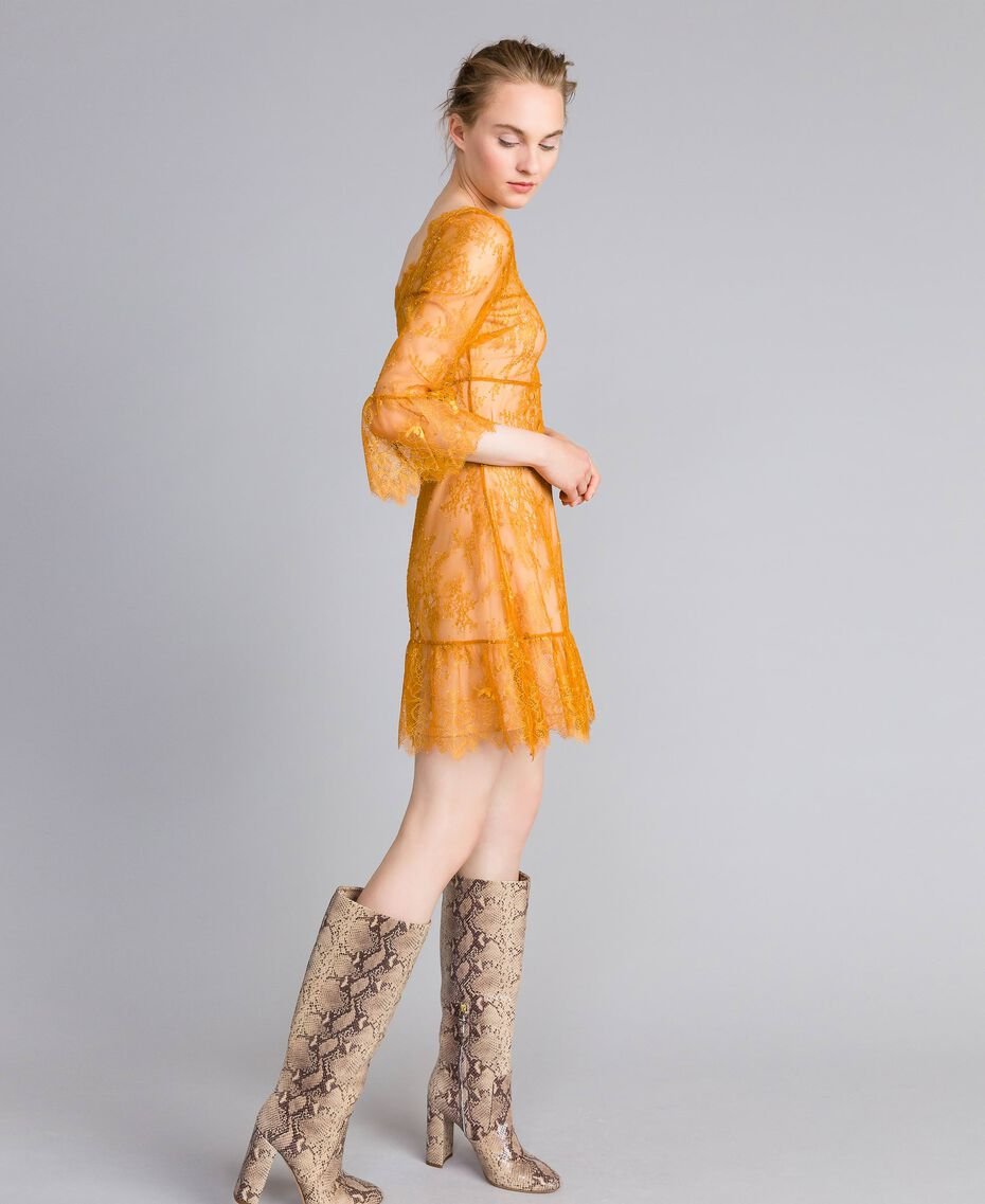 Short Valencienne lace dress Brandy Woman PA82FY-02