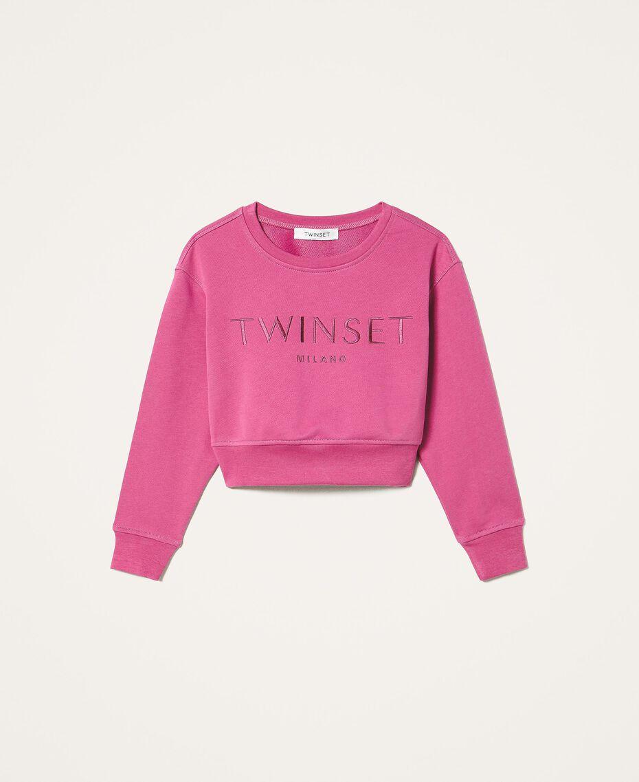 Sweatshirt with logo embroidery Dark Fuchsia Child 202GJ283A-0S