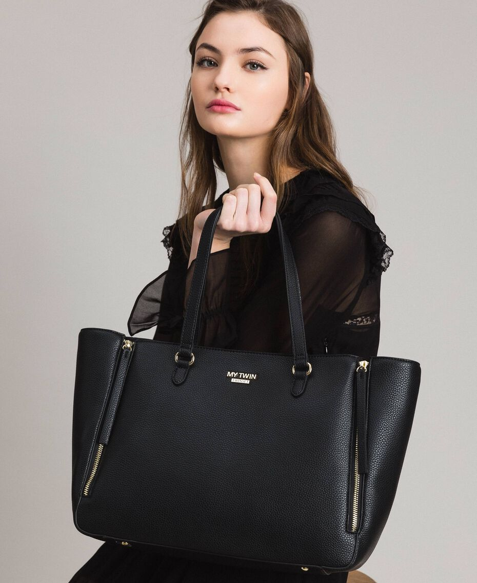 Shopper aus Lederimitat mit zwei Henkeln Schwarz Frau 191MA7100-0S