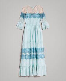"""Robe longue en georgette et dentelle Bicolore Bleu Clair Mikonos / Bleu Clair """"Aigue Marine"""" Femme 191TP2771-0S"""