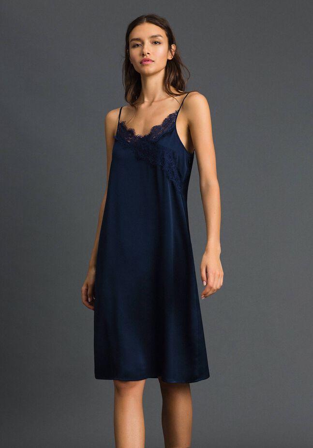 Scalloped lace slip dress