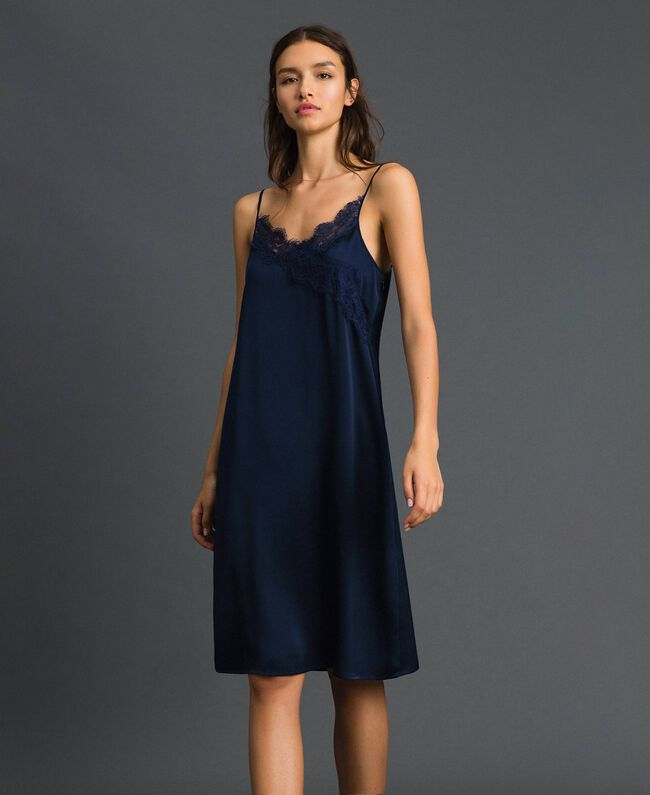 purchase cheap f04b7 e41ca Abito sottoveste con pizzo smerlato Donna, Blu | TWINSET Milano