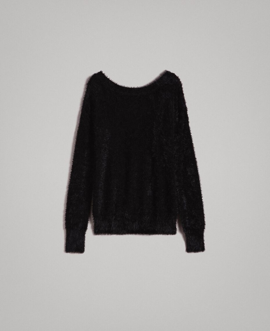 Fur stitch jumper Black Woman 191TP3421-0S