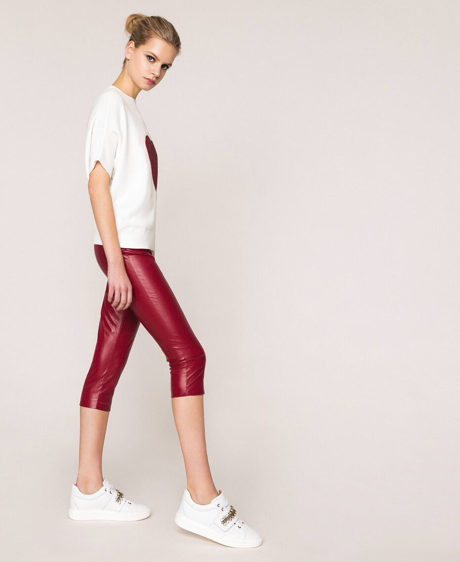 Faux leather leggings with stitches Purple Woman 201ST2113-02