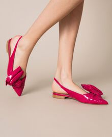 Patent leather ballerina pumps with bow Black Cherry Woman 201TCP110-0T