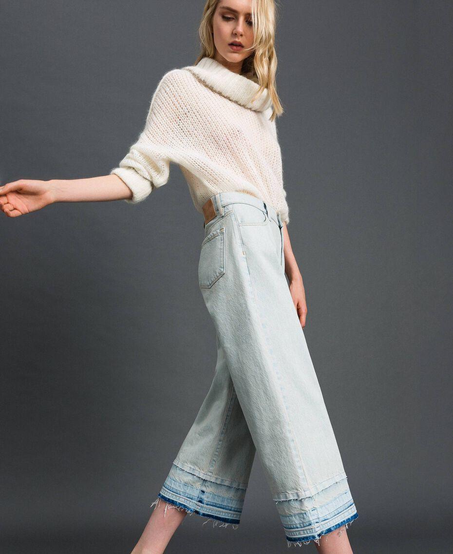 Jeans wide leg con fondo sfrangiato Denim Chiaro Donna 192TT2460-02