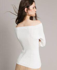 Pullover mit Streifendessin Weiß Schnee Frau 191TP3272-04
