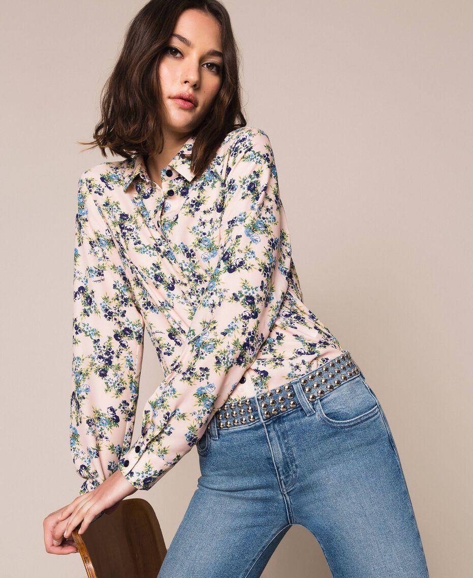 "Floral crêpe de Chine shirt ""Quartz"" Pink Flowered Print Woman 201MP2375-01"