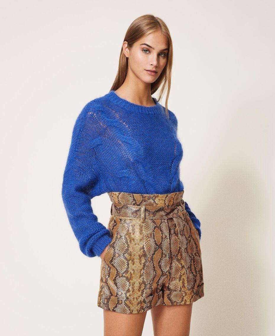Animal print faux leather shorts Walnut / Tobacco Snakeskin Print Woman 202TT2226-01