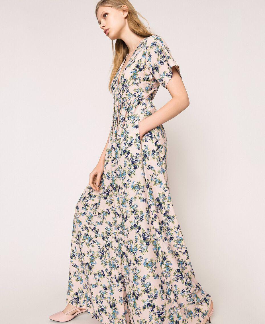 """Floral crêpe de Chine jumpsuit """"Quartz"""" Pink Flowered Print Woman 201MP2372-03"""