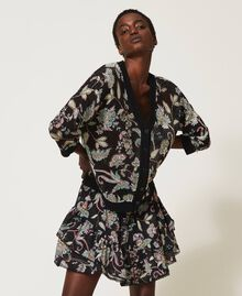 Floral print cardigan-jumper Black Indian Flower Print Woman 211TT3141-05