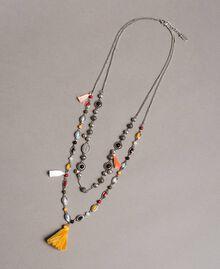 Collier à chaînes multiples avec pendentifs et pompons Multicolore Pierres Femme 191TO534F-01