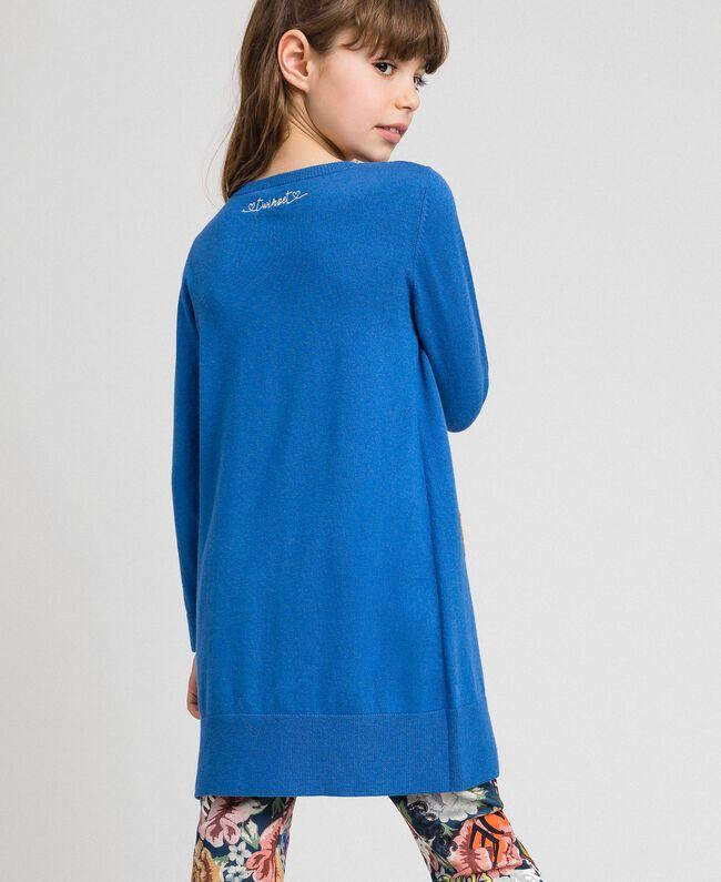 """Robe en maille avec inscription incrustée et broderie Bleu """"Méditerranée"""" Enfant 192GJ3050-03"""