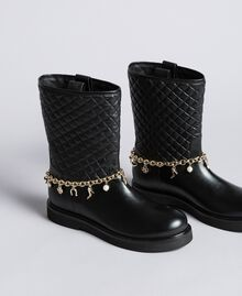 Leather boots with charm chain Black Woman CA8PLW-01
