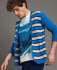 "Crêpe cotton striped cardigan Multicolour Bay Blue / ""Blackout"" Blau / Opaque White Man 191UT3032-02"