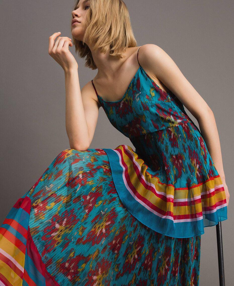 Robe longue en chiffon à imprimé motif floral Multicolore Chiné / Rayures Bleu Céramique Femme 191TT2361-01
