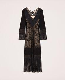 Lace stitch dress with fringes Black Woman 201TT3010-0S