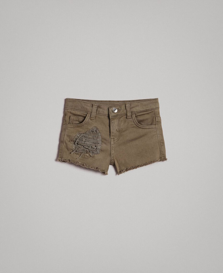 Pantalones cortos de bull elástico con encaje Verde Tundra Niño 191GB2060-01