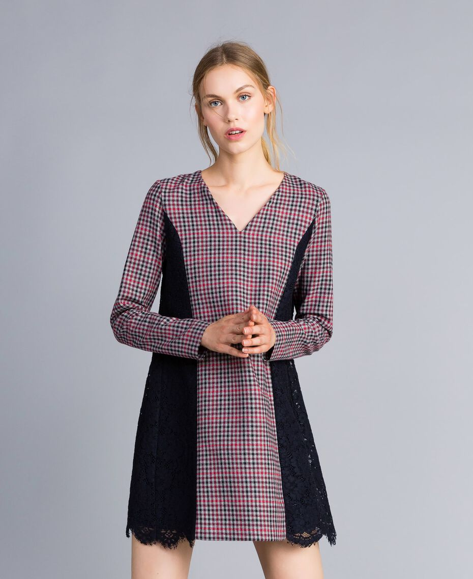 Check flannel and macramé lace dress Grey / Red Check Jacquard Woman SA82FF-01