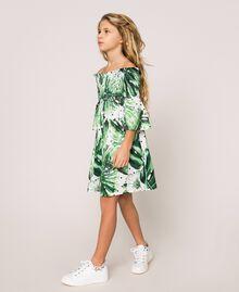 Tropical print dress Blue Polka Dot Tropical Print / Vichy Child 201GJ2302-03