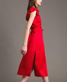 "Vestido largo de raso de lino Rojo ""Lipstick Red"" Mujer 191TT2303-03"