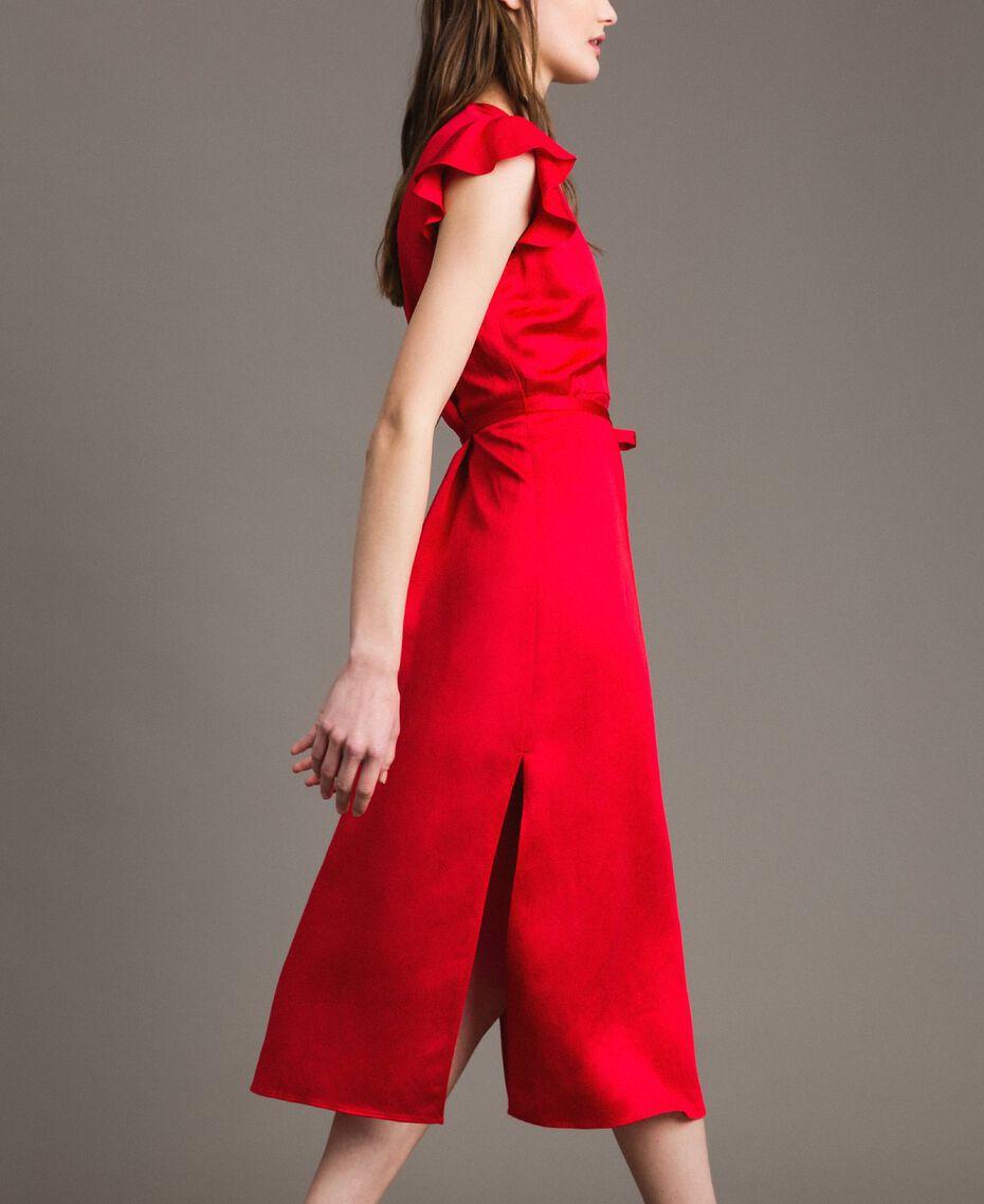 """Envers satin linen long dress """"Lipstick Red"""" Woman 191TT2303-03"""