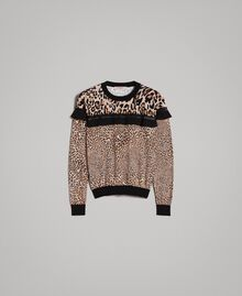 Pullover mit Animal-Print und Spitze Motiv Verschiedene Tiere Frau 191TP3413-0S