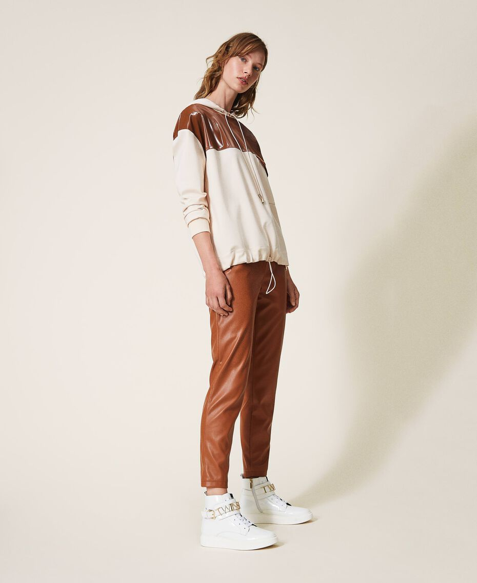 Pantalón pitillo de piel sintética Rojo Terracota Mujer 202LI2GDD-01