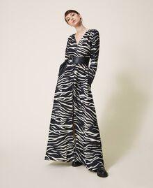Animal print crêpe de Chine dress Black / Cream White Zebra Print Woman 202MP2430-01