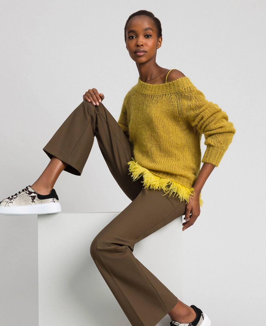 "Mohair jumper and feathered top ""Wasabi"" Yellow Woman 192TT3275-01"