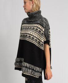 Poncho en mélange de laine et mohair jacquard Noir Femme 192LL3AJJ-02